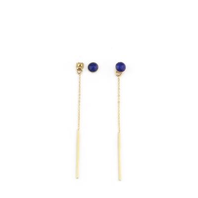 Boucles d'oreilles Puce pierre et chaine lapis lazuli