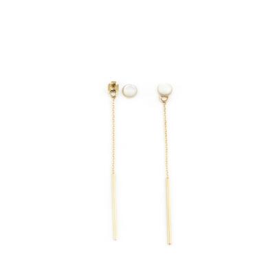 Boucles d'oreilles Puce pierre et chaine nacre