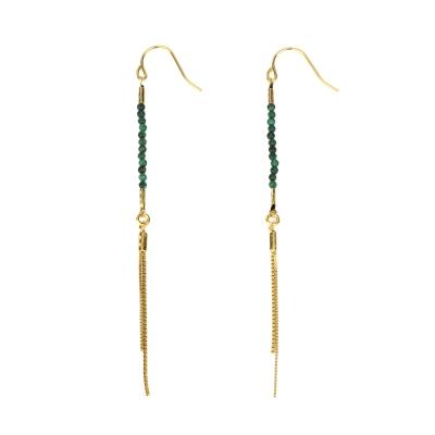 Boucles d'oreilles Lima malachite