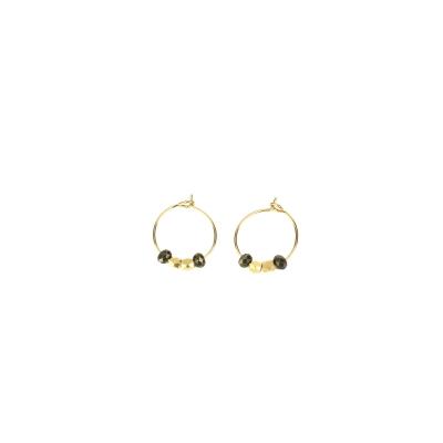 Boucles d'oreilles Cuzco XS pyrite