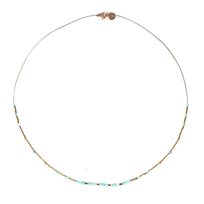 Collier Lou tubes et amazonite