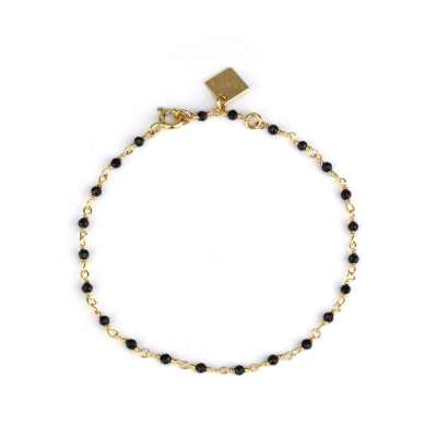 Bracelet Dumbo spinelle noire doré à l'or fin
