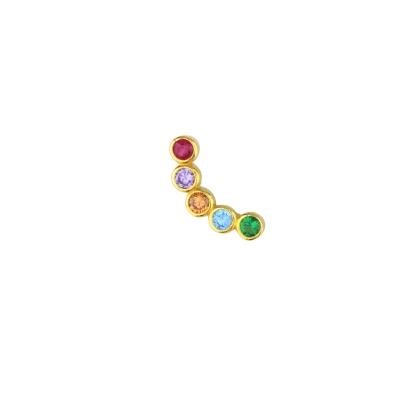 Boucle d'oreille incurvée multicolore droite