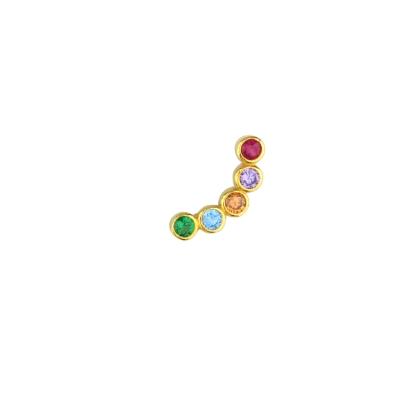 Boucle d'oreille incurvée multicolore gauche