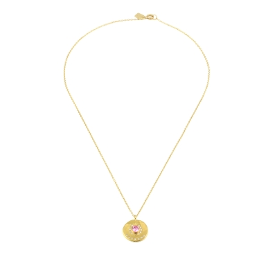 Collier Médaillon rose