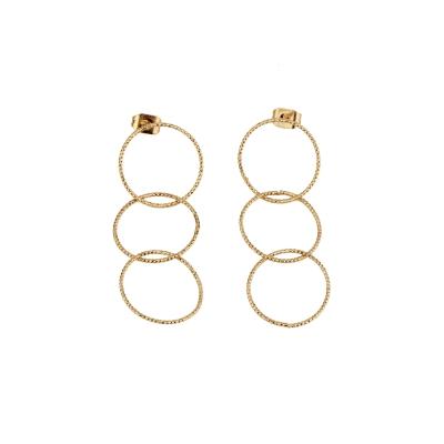 Boucles d'oreilles Sophie triple dorées à l'or fin