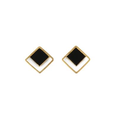 Boucles d'oreilles Carré et pierre S agate noire