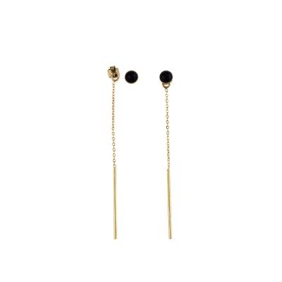 Boucles d'oreilles Puce pierre et chaine agate noire