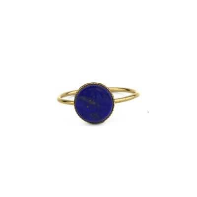 Bague pierre ronde lapis-lazuli