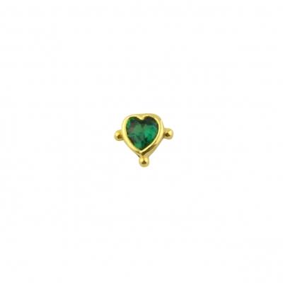 Boucle d'oreille Cœur billes verte