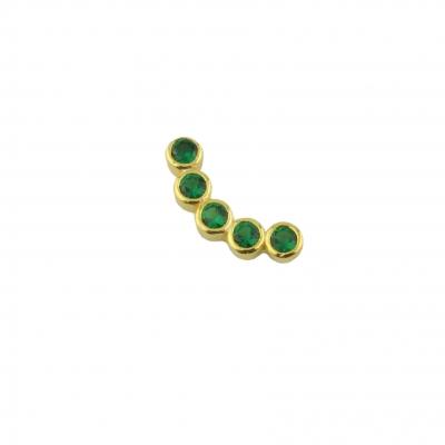 Boucle d'oreille incurvée verte droite