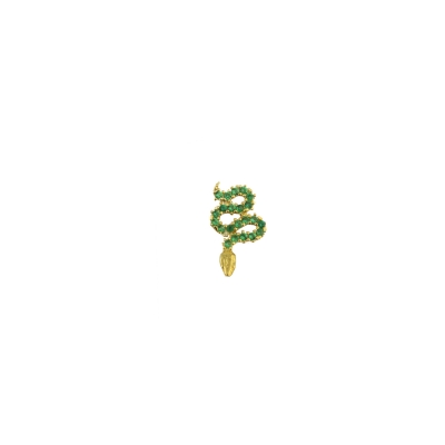 Boucle d'oreille Serpent verte gauche