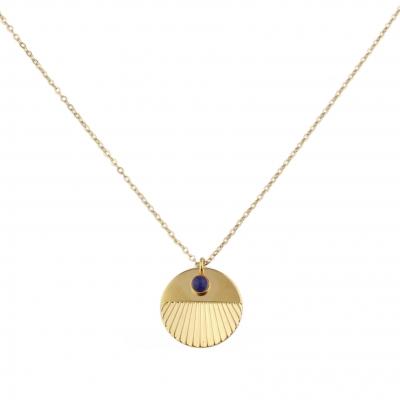 Collier Nyx Lapis-lazuli doré à l'or fin