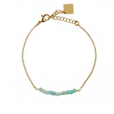 Bracelet Mina amazonite doré à l'or fin