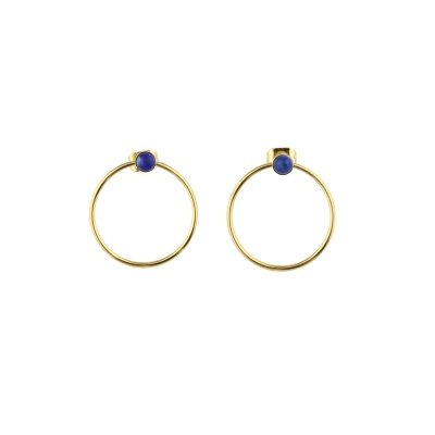 Boucles d'oreilles créoles Nyx Oeil Lapis-lazuli dorées à l'or fin