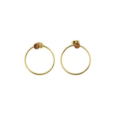 Boucles d'oreilles créoles Nyx Oeil de Tigre dorées à l'or fin