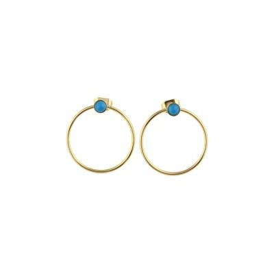 Boucles d'oreilles créoles Nyx Turquoise dorées à l'or fin