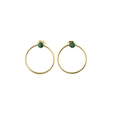 Boucles d'oreilles créoles Nyx Malachite dorées à l'or fin