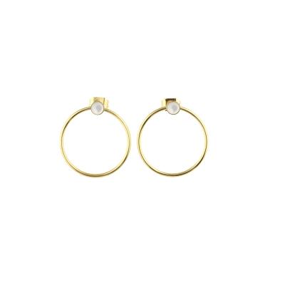 Boucles d'oreilles créoles Nyx Nacre Blanche dorées à l'or fin
