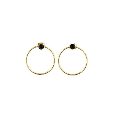 Boucles d'oreilles créoles Nyx Agate Noire dorées à l'or fin