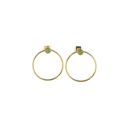 Boucles d'oreilles créoles Nyx Aventurine dorées à l'or fin