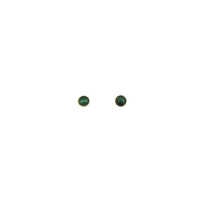Boucles d'oreilles puces Nyx Malachite dorées à l'or fin