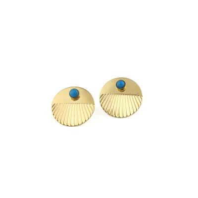 Boucles d'oreilles puces Empire Turquoise dorées à l'or fin