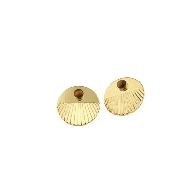 Boucles d'oreilles puces Empire Oeil de Tigre dorées à l'or fin