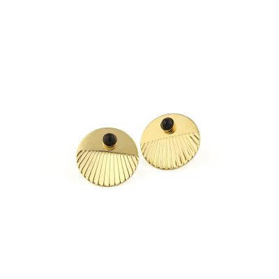Boucles d'oreilles puces Empire Agate Noire dorées à l'or fin