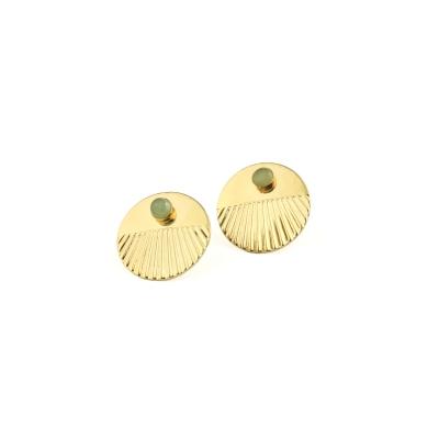 Boucles d'oreilles puces Empire Aventurine dorées à l'or fin