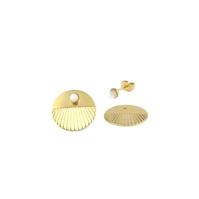 Boucles d'oreilles puces Empire Nacre Blanche dorées à l'or fin