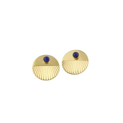 Boucles d'oreilles puces Empire Lapis-lazuli dorées à l'or fin