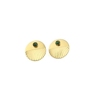 Boucles d'oreilles puces Empire Malachite dorées à l'or fin