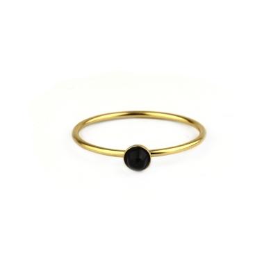 Bague Nyx Agate Noire plaquée or