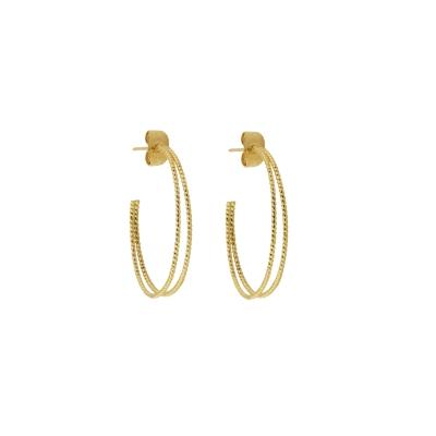 Créoles Sophie double dorées à l'or fin